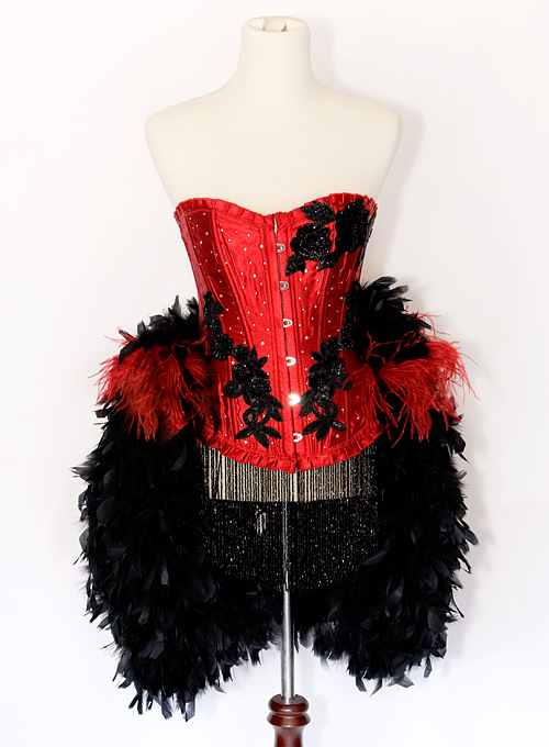 Burlesque Moulin Rouge Show Girl Costume Eva Red and Black from dillingerpinup.com