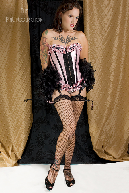 Burlesque Moulin Rouge Show Girl Costume Ella Black and Pink from dillingerpinup.com