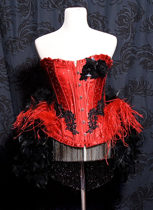 Burlesque Moulin Rouge Show Girl Costume Eva Red and Black :  showgirl sexy adult halloween