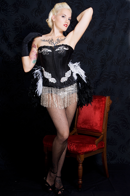 Burlesque Moulin Rouge Show Girl Costume Gigi Black and White