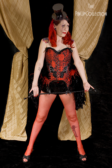 Burlesque Moulin Rouge Show Girl Costume Sylvia Red and Black from dillingerpinup.com