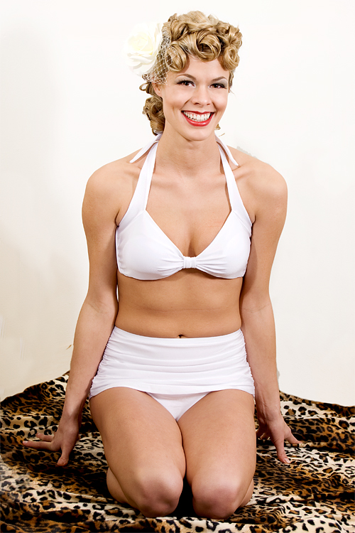 1940's Swimsuit Esther Williams Pinup Swimwear White