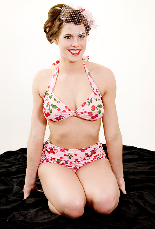 1940's Swimsuit Esther Williams Pinup Swimwear Cherry Pink
