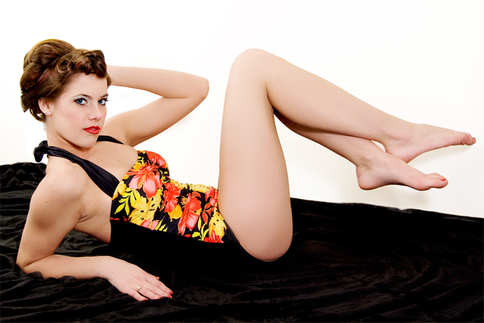 Esther Williams Swimwear Pinup Black and Floral Hula Girl Swimsuit Vintage Inspired from shop.dillingerink.com